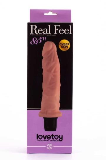 Телесный вибратор-реалистик с богатым рельефом Real Feel - 21,6 см.