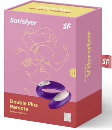 Фиолетовый вибратор для пар Satisfyer Double Plus Remote с пультом ДУ